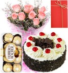 send 1 Kg Eggless black forest Cake with pink Roses Bunch ferrero rocher Greeting Card delivery