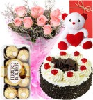 send Pink Roses Bouquet - Eggless Black Forest Cake - Ferrero Rocher - teddy - Greeting Card delivery