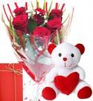 send 6 Red Roses Bunch and 1 Teddy Bear With Greeting Card  delivery