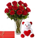send red roses vase and teddy bear with greeting card delivery