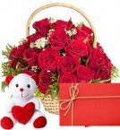 send red roses baskets and teddy greeting card delivery