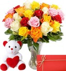 send Bunch of 20 Mixed Roses with 6 Inches Teddy Bear delivery