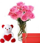 send Bunch of Pink Roses with 6 Inch Teddy Bear delivery