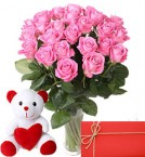 send Bunch of 25 Pink Roses with 6 Inch Teddy Bear greeting card delivery