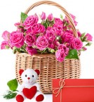 send pink roses baskets and teddy with greeting card delivery