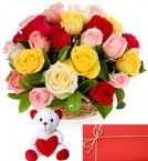 send mix roses baskets and teddy with greeting card delivery