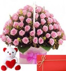 send 50 pink roses baskets and teddy with greeting card delivery
