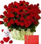 send 100 sensational red Roses Basket along with 6 Inch Teddy Bear with greeting card delivery