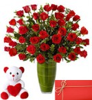 send 40 Red Roses in Vase with 6 Inches Teddy Bear and greeting card delivery