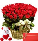 send 51 Red Roses in basket with 6 Inches Teddy Bear and greeting card delivery