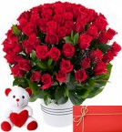 send 100 Red Roses in basket with 6 Inches Teddy Bear and greeting card delivery