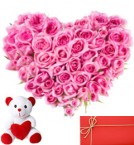 send Heart Shape Arrangement of 50 pink roses with small cute teddy and greeting card delivery