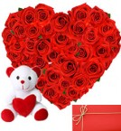 send Heart Shape Arrangement of 50 Red roses with small cute teddy greeting card delivery