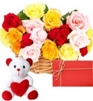 send Arrangement of 20 mix roses with small cute teddy greeting card delivery