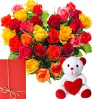 send Heart Shape Arrangement of 35 mix roses with small cute teddy and greeting card delivery