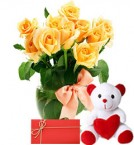 send 10 yellow Roses in Vase with 6 Inches Teddy Bear and greeting card delivery
