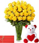 send 30 yellow Roses in Vase with 6 Inches Teddy Bear and greeting card delivery