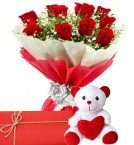 send Red Rose Bunch And Teddy Bear with Greeting Card delivery