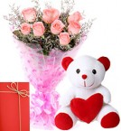 send Pink Rose Bunch And Teddy Bear with Greeting Card delivery