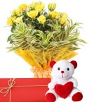 send Yellow Rose Bunch And Teddy Bear with Greeting Card delivery