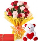 send roses and carnations mix bunch  with teddy and greeting card delivery