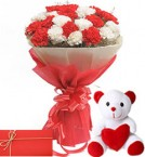 send red white carnations mix bunch with teddy and greeting card delivery