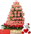 send teddy bear and roses bouquets for birthday gift delivery