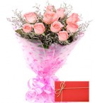 send Designer Pink Roses Bunch with Greeting Card delivery