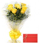 send Designer Yellow Roses Bunch with Greeting Card delivery
