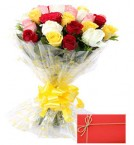 send Exclusive Mix Roses Bunch and Greeting Card delivery