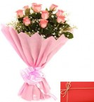 send Exclusive Pink Roses Bunch and Greeting Card delivery
