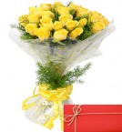 send Exclusive Yellow Roses Bunch and Greeting Card delivery