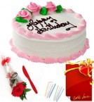 send Red Rose Half Kg Eggless Strawberry Cake n Greeting Card delivery