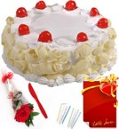 send Red Rose Half Kg Eggless White Forest Cake n Greeting Card delivery