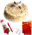send Red Rose 1 Kg Eggless Butterscotch Cake n Greeting Card delivery