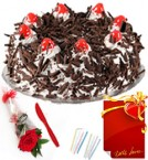 send Red Rose 1 kg Eggless Black Forest Cake n Greeting Card delivery
