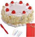 send Any Occasion 1KG  Eggless White Forest Cake n Greeting Card delivery