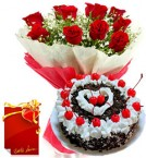 send 1kg eggless black forest cake Red Roses bunch with greeting card delivery