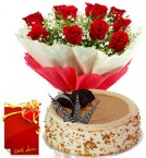 send 1kg Eggless Butterscotch Cake Red Roses Bunch with Greeting Card delivery