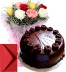 send eggless flower cake combo - one delivery