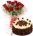 send black forest cake and 10 red roses delivery