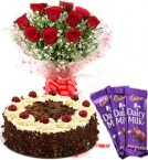 send red roses half kg  black forest cake and dairy milk chocolates  delivery
