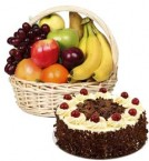send Half Kg Cake with Basket of 3 kg Mix fruits delivery