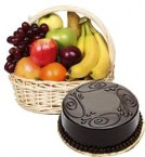 send 1 Kg  Chocolate Cake with Basket of 2 kg Mix fruits delivery