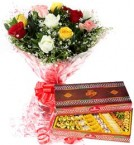 send Assorted Sweet Box with Mix Roses bouquet delivery