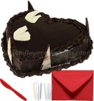 send 1kg eggless heart shape chocolate cake with greeting card delivery