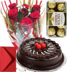 send Half Kg Eggless Chocolate Cake with Roses Bunch and 16 Pcs ferrero rocher chocolate box  Greeting Card delivery