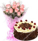send half kg black forest cake ten pink roses bunch  delivery