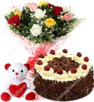 send Red Roses bouquet 6 inch teddy half kg black forest cake delivery