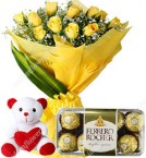 send yellow roses bouquet ferrero rocher chocolate with teddy delivery